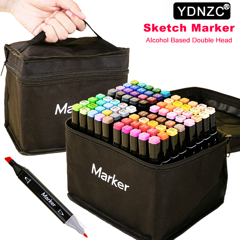 Alcohol-Based Art-Supplies Drawing-Markers Twin-Brush Manga Sketch-Felt-Tip Pen High-Quality