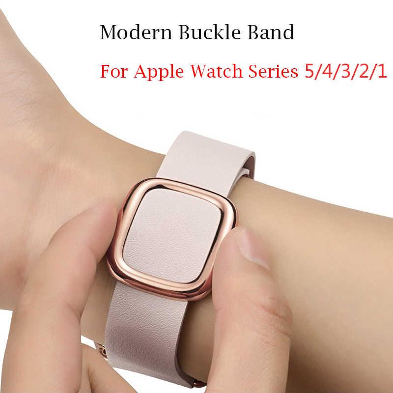 Кожаный браслет-петля, современный ремешок с пряжкой для Apple Watch серии 6 SE 5 4 40/44 мм, Браслет-ремешок для iWatch серии 3/2/38 мм/42 мм