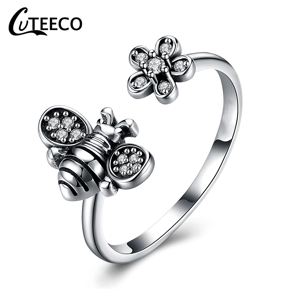 CUTEECO 2019 New Fashion Adjustable Open Ancient Silver Color Finger Rings For Women Bee Shape Brand Ring Jewelry Gifts in Rings from Jewelry Accessories
