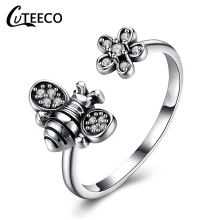 CUTEECO 2019 New Fashion Adjustable Open Ancient Silver Color Finger Rings For Women Bee Shape Brand Ring Jewelry Gifts