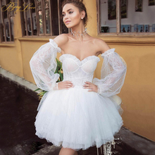 BeryLove Sexy White Lace Short Wedding Dress 2020 Long Sleeves Ivory Wedding Gown Mini Layers Tulle Sweetheart Bridal Dress white ivory lace customized flower girls dress for wedding birthday gown o neck short sleeves beading tulle christmas dress