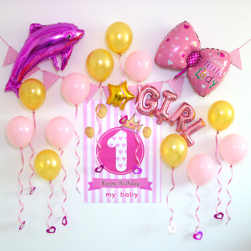 Baby Party Decorations Set Cute Dolphin Theme Newborn Baby Boys Girls Birthday Party Kids Boys Girls Party Decorations