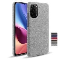 Cloth Leather Case For Xiaomi Mi Poco F3 M3 X3 NFC F2 11X Pro F1 11 10T Slim Retro Cloth Hard PC Cover For Redmi Note 8 9 10 Pro