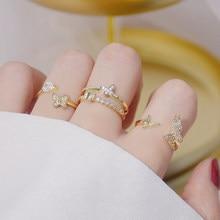 4 pçs requintado minúsculo 14k real ouro aberto anel de design para femme ajustável micro incrustada qualidade superior zircon anillos bague bijoux