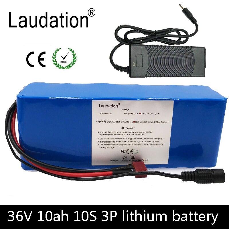 Laudation 36 V 10ah 10 S 3 P 18650 batterie Rechargeable changeante vélos, voiture électrique 36 V 9600 mah protection avec chargeur 2A