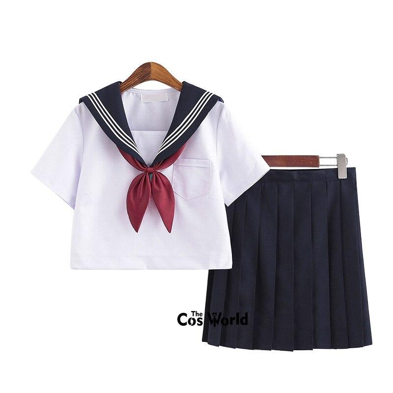 White Navy Blue Summer Navy Sailor Suit Tops Skirts JK High School Uniform Class Uniform Students Cloth