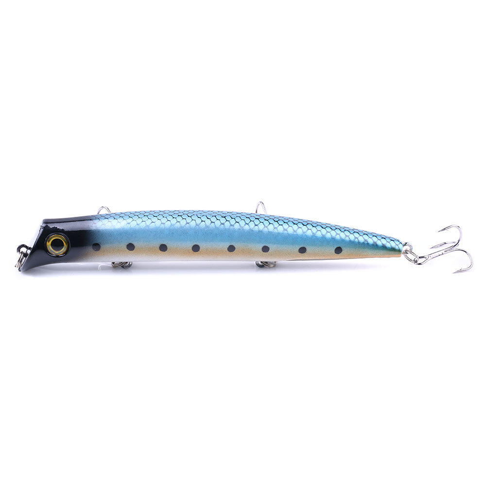 1pc popper Fishing Lure 12cm 16g isca artificial hard bait 3D Eyes Treble Hook floating wobblers Minnow Crankbait pesca tackle in Fishing Lures from Sports Entertainment