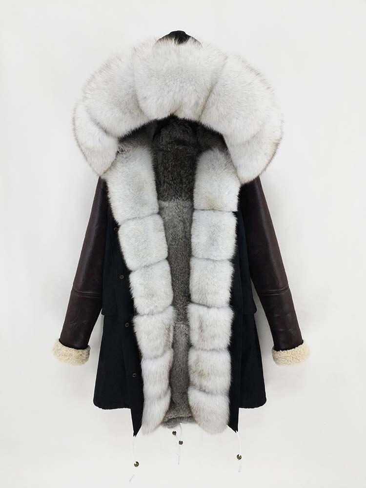 OFTBUY 2019 Long Parka Real Fur Coat Winter Jacket Women Natural Fur Collar Hood PU Leather Sleeve Rabbit Lliner Outerwear New