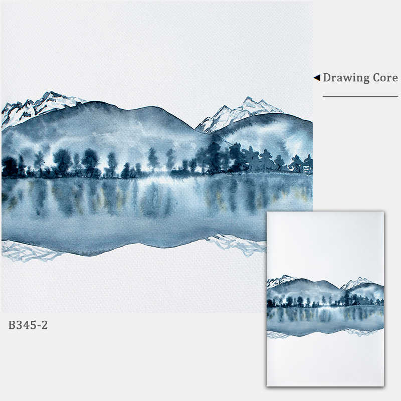 Watercolor Abstract Landscape Canvas Painting Posters and Prints Navy Blue Wall Art Wall Pictures for Living Room Decorative