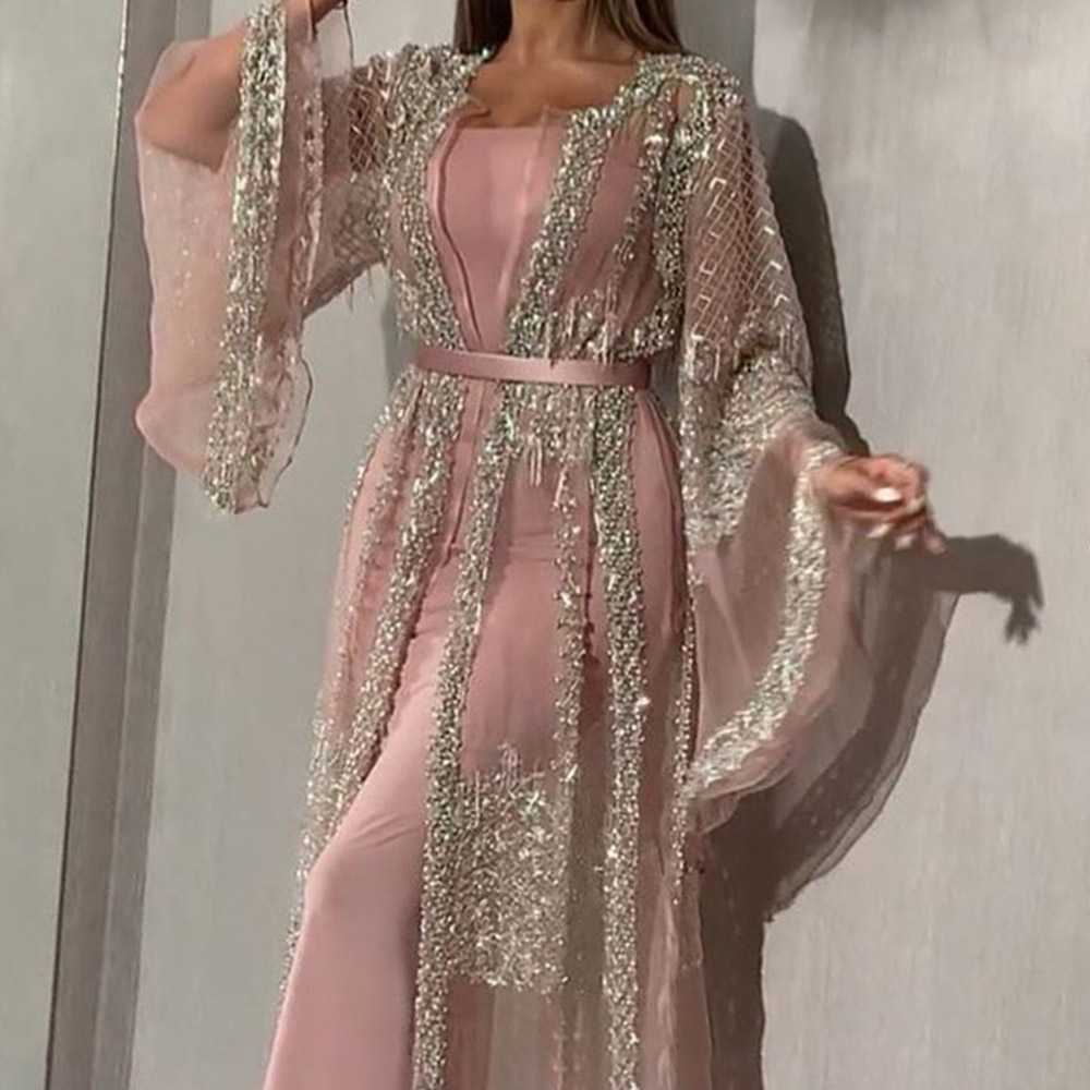 Sexy Sequins Prom Party Dress Long Luxury Elegant Summer Mermaid Women Dresses Sexy Pink Illusion Shawl Bodycon Robe De Soiree