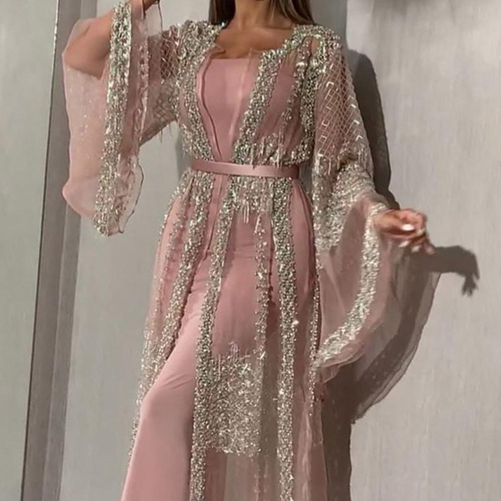 Sexy Sequins Prom Party Dress Long Luxury Elegant Summer Mermaid Women Dresses Sexy Pink Illusion Shawl Bodycon Robe De Soiree
