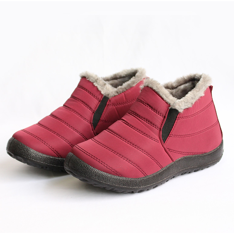 MCCKLE Snow Boots Women Shoes Warm Plush Fur Ankle Boots Winter Female Slip On Flat Casual Shoes Waterproof Ultralight Footwear