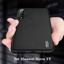 MOFi voor Nova 5 T Case Huawei Nova5t Cover voor Nova 5 T Terug Behuizing Coque TPU PU Leer Zacht siliconen Volledige