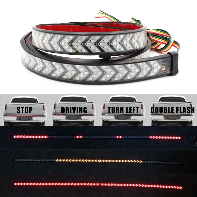 Red Yellow Truck Tailgate LED Strip Light Bar Triple Row 4-Function With Driving Brake Turn Signal For Jeep Pickup SUV Dodge