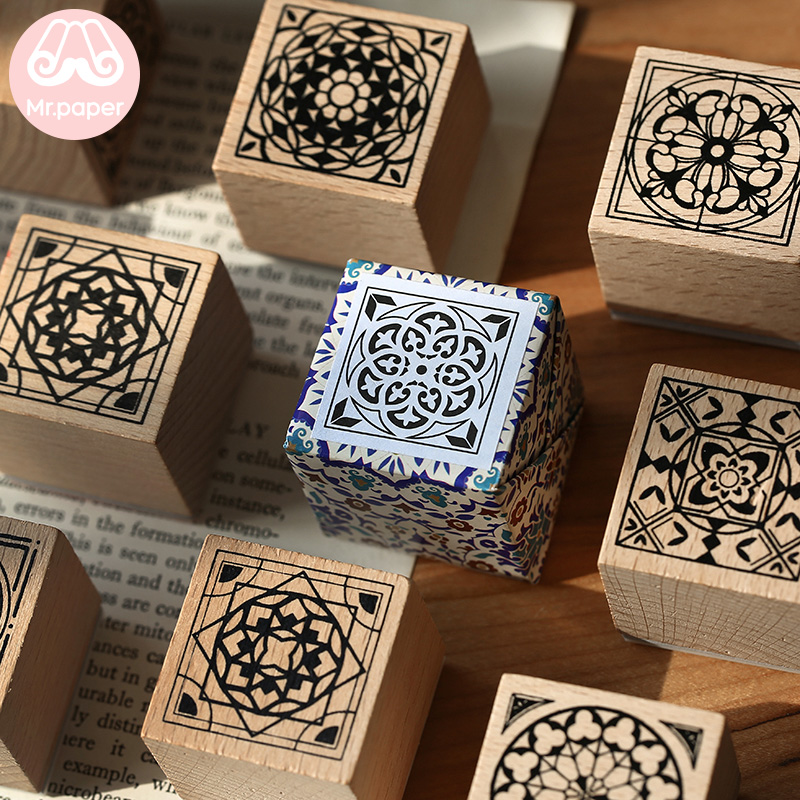 Mr.paper Notre Dame Vintage Retro Flower Tile Wooden Rubber Stamps For Scrapbooking Decoration DIY Craft Standard Wooden Stamps