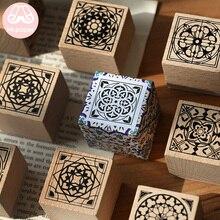 Mr.paper Notre Dame Vintage Retro Flower Tile Wooden Rubber Stamps for Scrapbooking Decoration DIY Craft Standard Wooden Stamps