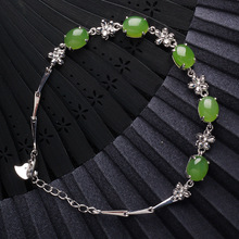 925 certificates of national wind of pure natural jade bracelet with silver inlaid hetian jade bracelet for women natural burma bracelet a cargo bracelet ice waxy kind of violet bracelet send certificates send jewelry box