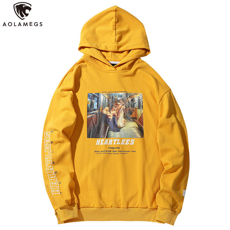 Aolamegs Hoodies Men Funny Ancient Pictures Men Casual Pullover Letter Print College Style Hooded Autumn Streetwear Couple