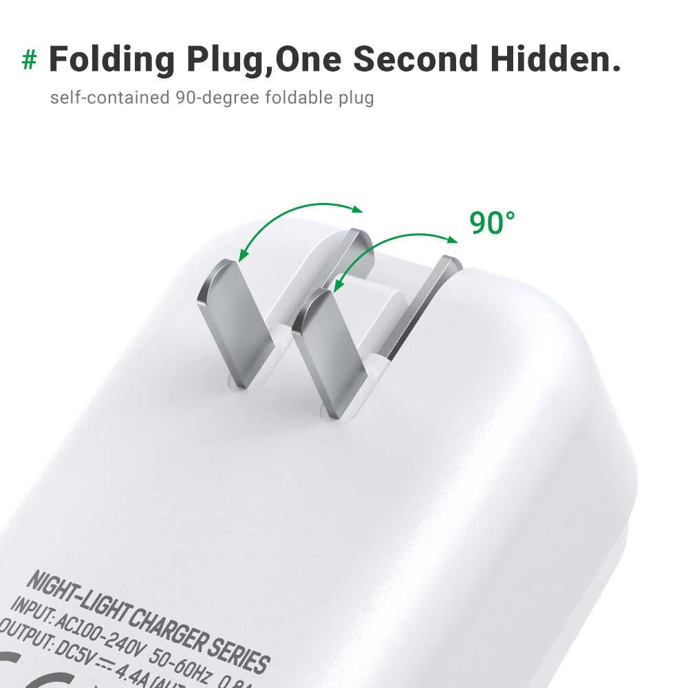 TOPK 4-Port 4.4A(Max) 22W EU Charger USB Adaptor Lampu LED Auto-ID Telepon Portabel Perjalanan Dinding Charger untuk iPhone Samsung