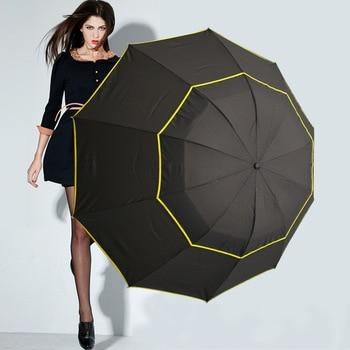 27 inch ten bone double layer three fold windproof clear umbrellas business golf sunny and rainy black umbrella