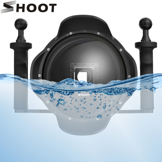 SHOOT funda impermeable para GoPro Hero 7 6 5, bandeja estabilizadora, funda de cúpula de buceo negra, accesorios para GoPro 7 6