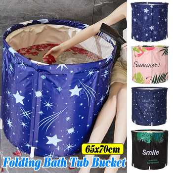 Folding Bath Bucket Portable Bathtub Foldable Large Adult Tub Baby Swimming Pool Insulation Separate Family Bathroom SPA Tub