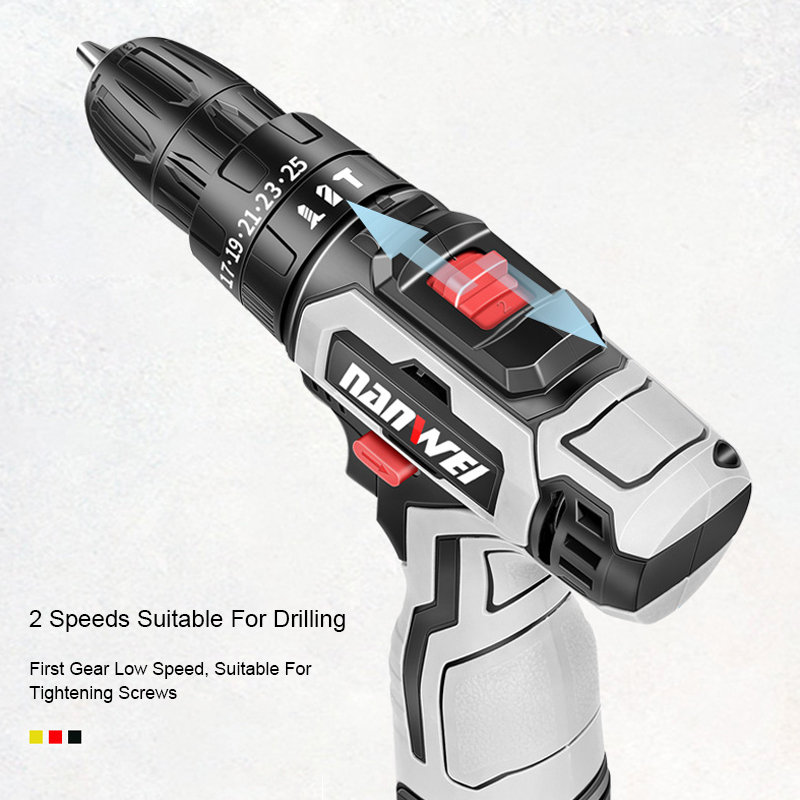 Tools : 18VF Impact Cordless Drill Electric Screwdriver Mini Wireless Power Driver DC Lithium-Ion Battery with with Power Tool Box