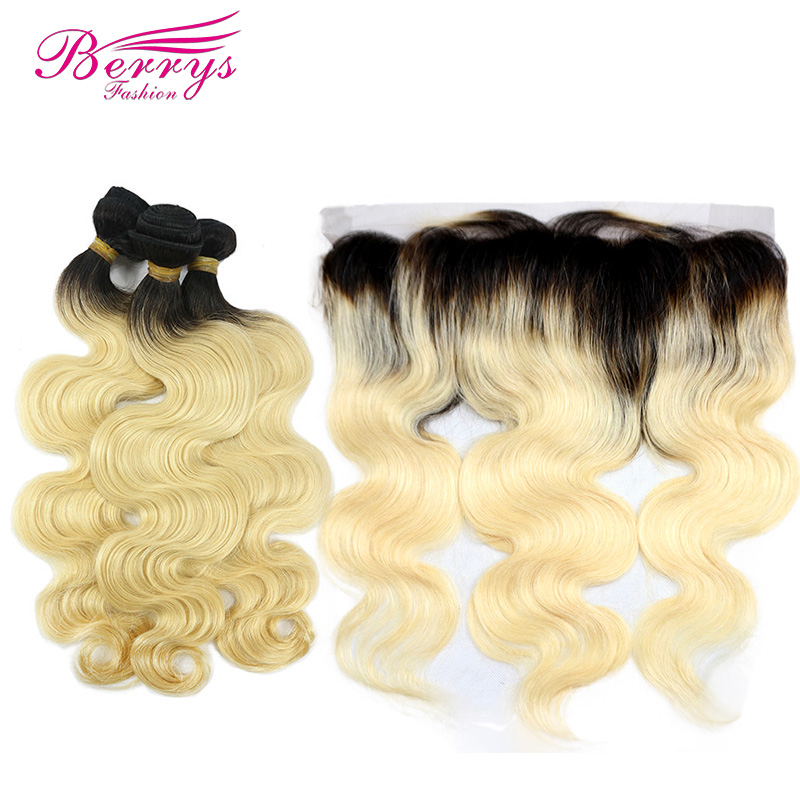 Brazilian Remy Hair 1b 613 Body 3 Bundles with Frontal 13x4 Black Roots with Blonde Hair