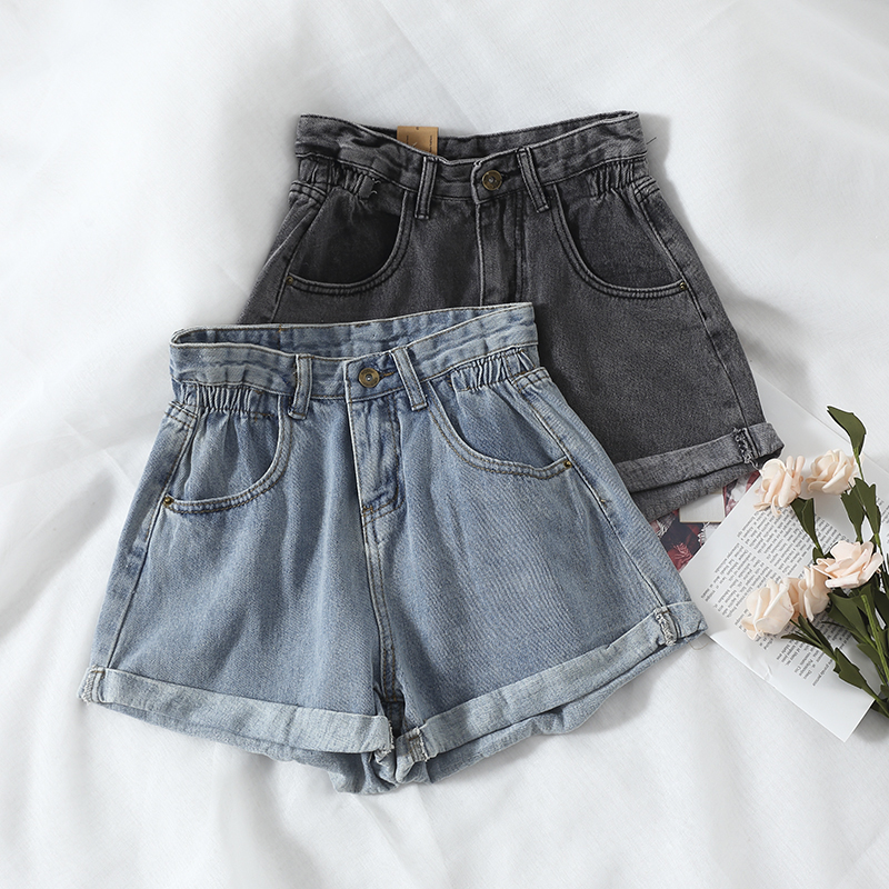 New 2020 Summer High Waist Denim Shorts Women Casual Loose Ladies Fashion Plus Size Elastic Waist Wide Leg Short Jeans Female