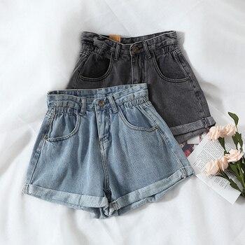 New 2020 Summer High Waist Denim Shorts Women Casual Loose Ladies Fashion Plus Size Elastic Waist Wide Leg Short Jeans Female