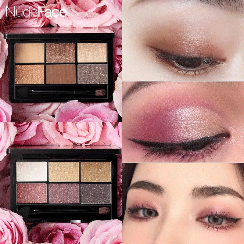 6 farbe lidschatten-palette eye glitter schönheit glasierte Make-Up focallure novo Lidschatten veranstalter Kosmetische palette maquillage