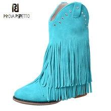 Botas de borla de couro de couro artesanal sapatos fosco de salto grosso rebites pedal casual dedo do pé redondo franjas mid-tube botas