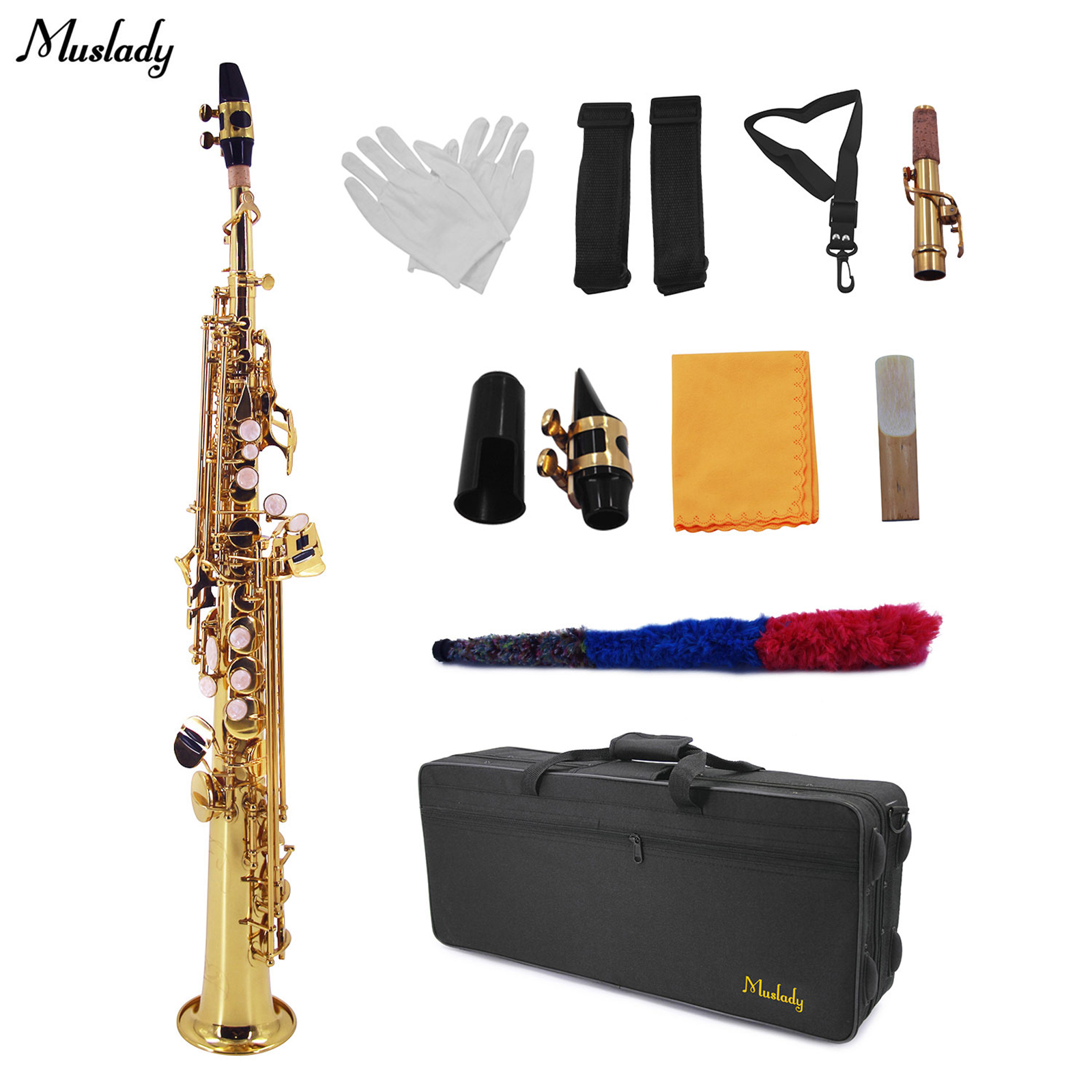 Muslady Straight Bb Soprano Saxophone Brass Lacquered Gold Woodwind Instrument with Carrying Case Reed Cleaning Brush Cloth