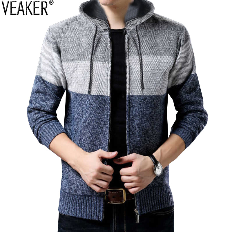 2019 Autumn Winter New Men's Thick Hooded Sweater Coat Male Striped Zipper Sweater Outerwear Cashmere Wool Knitted Sweaters 3XL