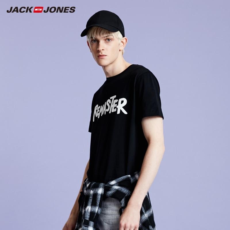 JackJones Men's New Fashion 100% Cotton 3D Letter Print Short-sleeved T-shirt Menswear Style| 219101521