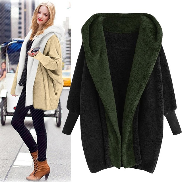 Plus Size Women Warm Plush Hooded Coat With Pockets Winter Casual Solid Cotton Coat Outwear For Ladies Streetwear 7 Colors