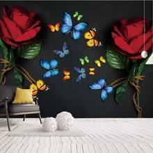 Custom European retro red rose butterfly TV background