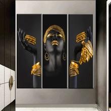 アフリカの女性の絵画アートポスターと印刷黒女、保有ゴールドジュエリーキャンバスピクチャーホームインテリア