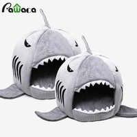 Casa do cão do tubarão lavável casa do animal de estimação cama do cão do tubarão cama do gato camas & esteiras casa dormir sofá cama removível almofada s/m para o gato do cão