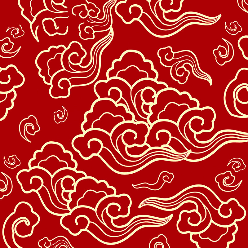 Chinese cloud wallpaper auspicious large red living room Tibetan Buddhist background wall Nicole Bud