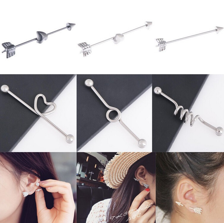 Ha4e0528643ba43819273e5bb12fbe8edF - Piercing Ombligo 1pc Stainless Steel Punk Gothic Arrow Love Heart Industrial Cartilage Long Straight Bar Ring Ear Body Piercing