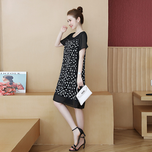 Image 3 - 48 100kg może nosić nowa moda Muyoms pełna miarka długość do kolan nieformalny bawełna kwiatowy długi rękaw szyfon Plus rozmiar sukienki koktajlowe koktajl sukienki na imprezę