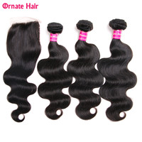 Brazilian Hair Body Wave 3 Bundles With Closure 100% Human Hair Bundles With Closure Non Remy Trendy Beauty Hair