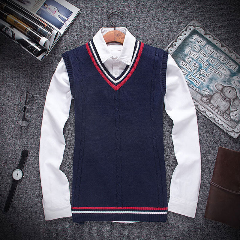 Autumn Winter 2020 New Men Fashion Boutique Cotton V-neck Knitted Sweater Vest / Male Formal Social Business Sweater Waistcoat