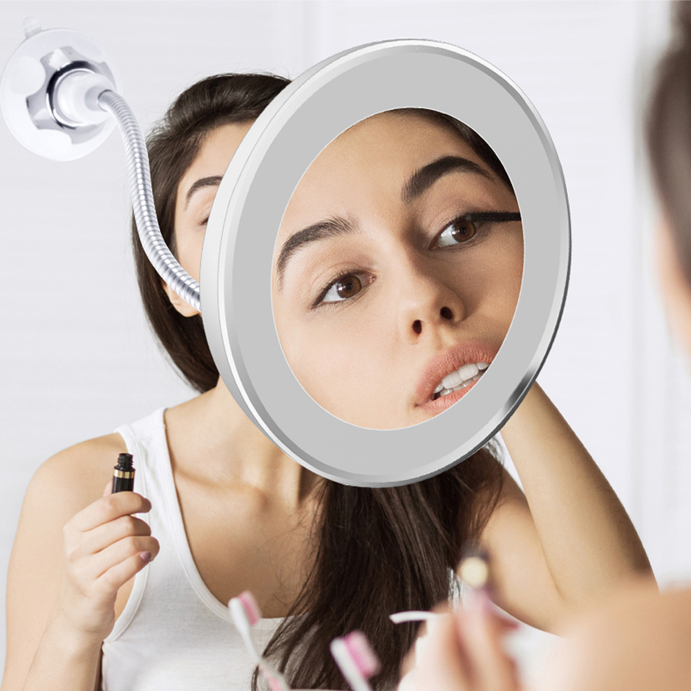 LED Makeup Mirror Magnifier Lamp Vanity Mirror 360 Degree Rotation 10X Magnifying Glass Mirror LED Table Night Light Bathroom