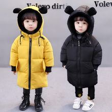 Baby Girls Jacket 2019 Autumn Winter Jacket for Girls Coat Kids Warm Hooded Outerwear Coat for Boys Jacket Coat Children Clothes cheap 0 35 Fashion COTTON spandex Long Fits true to size take your normal size zipper Broadcloth Cute Hooded Patchwork REGULAR