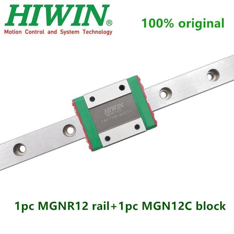 1pc Original Hiwin Linear Guide MGN12 100 150 200 250 300 350 400 450 500 550 600 Mm MGNR12 Rail + 1pc MGN12C Block Carriage