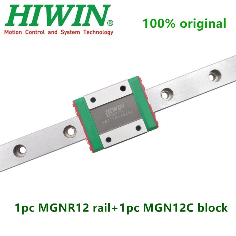 1pc oryginalna prowadnica liniowa hiwin MGN12 100 150 200 250 300 350 400 450 500 550 600 mm MGNR12 szyna + 1pc MGN12C blok przewóz