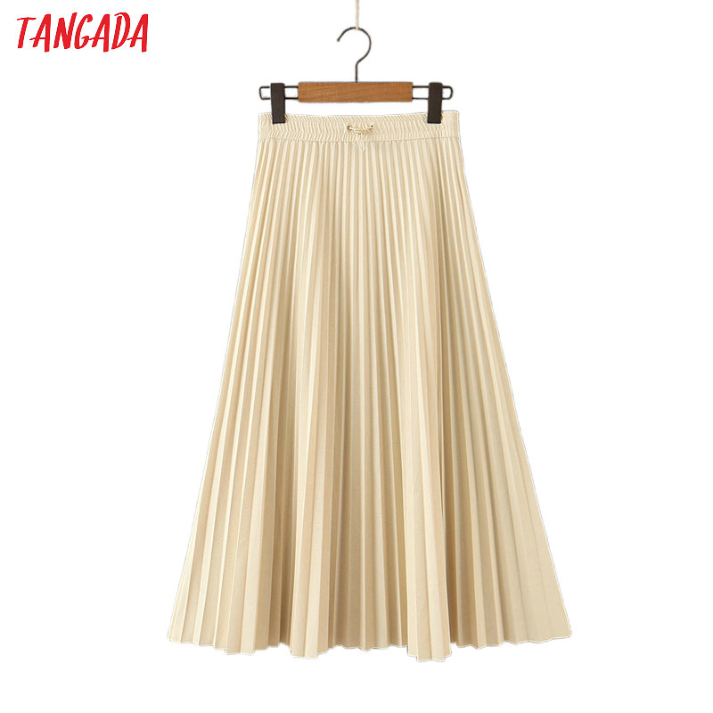 Tangada Women Elegant Beige Pleated Midi Skirt Faldas Mujer Strethy Waist Office Ladies Work Chic Mid Calf Skirts HY46
