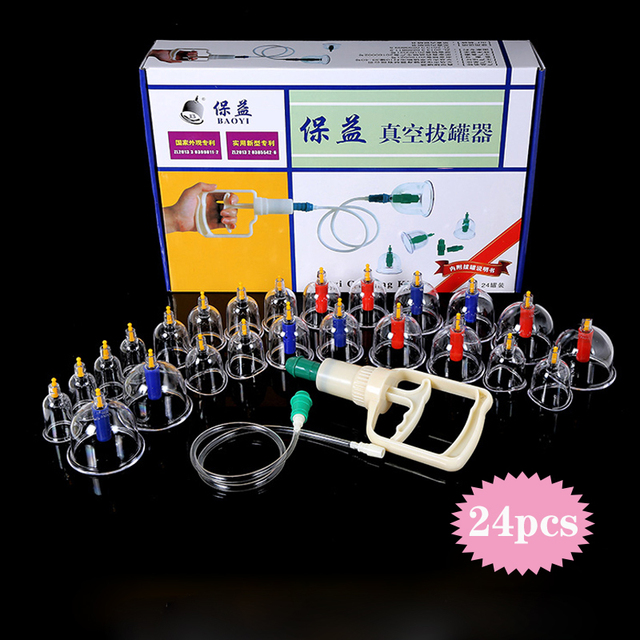 24 Can Vacuum Cupping Set  Device Suction Cups Medical Massage Cans Magnetic Body Treatment ventosas masaje cupping Massagers
